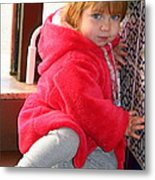 A Little Girl In Red Metal Print