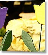 A Little Yellow And Purple Metal Print