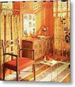 A Living Room With Furniture By Mt Airy Chair Metal Print