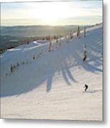 A Lone Skier Makes A Turn At Whitefish Metal Print