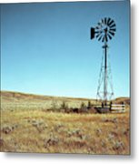 A Lone Windmill Stands On The Canadian Metal Print