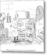 A Mad Scientist Removes A Jar From The Laboratory Metal Print