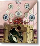 A Maid Getting China From A French Provincial Metal Print