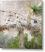 A Male Climber Runs Out The Traverse Metal Print