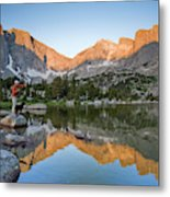 A Male Fly Fisherman In A Lake Metal Print