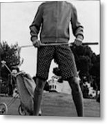 A Male Model Posing As A Golfer Wearing Metal Print