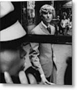 Woman In Telephone Booth Watched By Man Metal Print