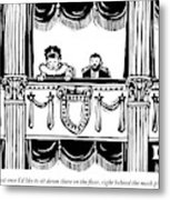A Man And A Woman Are Sitting In The Balcony Metal Print