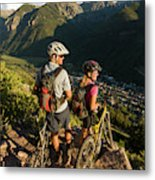 A Man And A Woman Looking At The View Metal Print