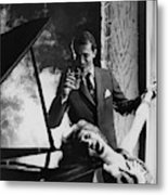 A Man And Woman By A Piano Metal Print