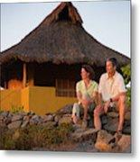 A Man And Woman Enjoy Sunset Metal Print