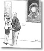 A Man And Woman Stand In A Museum Looking Metal Print