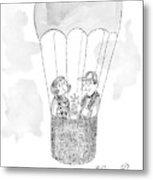 A Man Asks A Woman In A Hot-air Balloon Metal Print