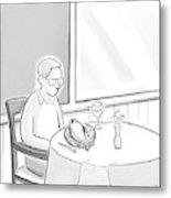 A Man At A Restaurants Looks At The Fish Metal Print