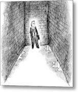 A Man Cornered In An Alleyway Speaks On His Cell Metal Print
