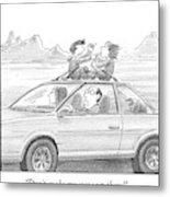 A Man Drives A Car Metal Print