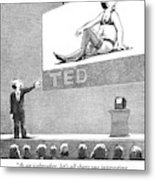 A Man Giving A Ted Presentation Points To An Metal Print