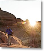 A Man Hiking In The Needles District Metal Print