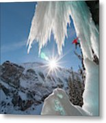 A Man Ice Climbing Louise Falls Metal Print