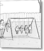 A Man Is Seen Swinging A Group Of Kids Like A Set Metal Print by Zachary Kanin