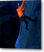 A Man Jumaring To A Route On El Cap Metal Print