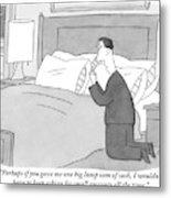 A Man Kneels Beside His Bed Metal Print