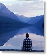A Man Looks At The Mountains Metal Print