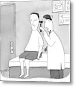 A Man Looks Inside A Patient's Ear Metal Print