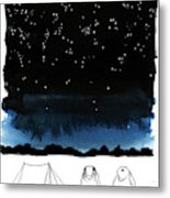 A Man Looks Up At The Night Sky Metal Print