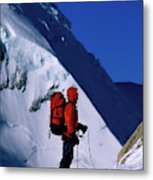 A Man Mountaineering In The Alps Metal Print