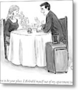A Man Speaks To A Woman On A Date At A Restaurant Metal Print