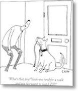 A Man Speaks To His Dog Metal Print