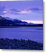 A Man Standing On The Edge Of A Lake Metal Print