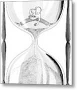 A Man Stands In The Top Half Of An Hourglass Metal Print