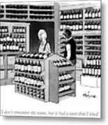 A Man Talking To An Employe At A Wine Store Metal Print