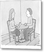 A Man Talks To His Wife Over Tea Metal Print