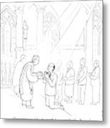 A Man To Priest As He Drinks The Wine Metal Print