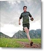 A Man Trail Runs Along The Spring Brook Metal Print