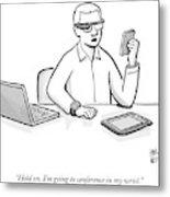 A Man Wearing Google Glasses Metal Print