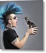 A Man With A Blue Mohawk Yells At His Metal Print by Leah Hammond