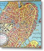 A Map Of Old Boston In The Commonwealth Of Massachusetts Metal Print