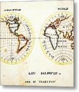 A Map Of The World  Amy Baldwin Sc Metal Print