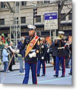 A Marine Band Marching In The 2009 New York St. Patrick Day Parade Metal Print