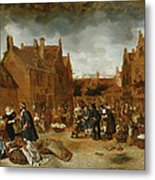 A Marketplace In Winter, 1653 Metal Print