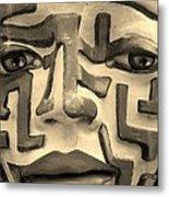 A Maze Ing Face 1 Sepia Metal Print