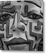 A Maze Ing Face Black And White Metal Print