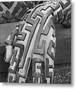 A Maze Ing Hand Black And White Metal Print