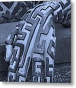 A Maze Ing Hand Cyan Metal Print