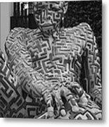 A Maze Ing Man 1 Black And White Metal Print