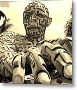 A Maze Ing Man 6 Sepia Metal Print